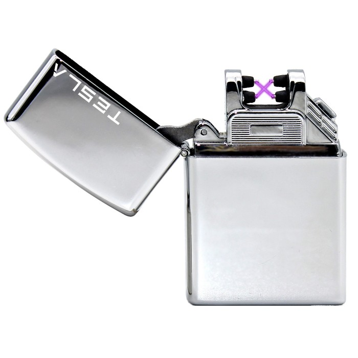 Tesla Çakmak [Gümüş] [Çift Ark] [Elektrikli , Şarjlı] [Kişiye Özel Seçeneği]