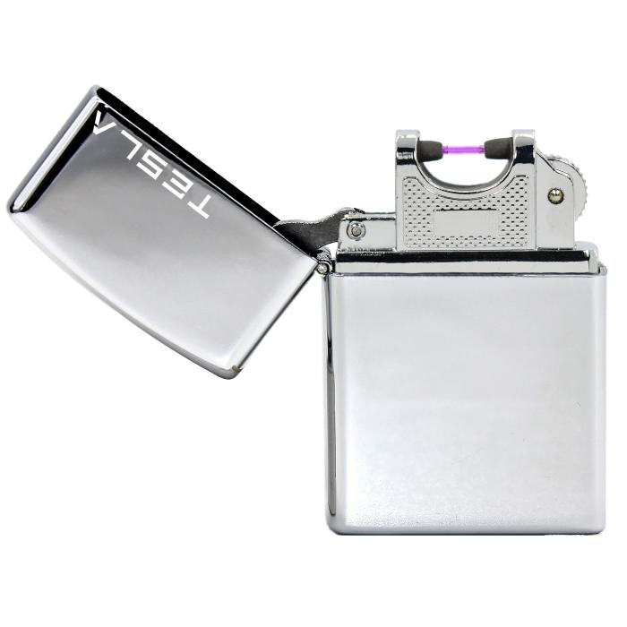 Tesla Çakmak [Gümüş] [Tek Ark] [Elektrikli , Şarjlı] [Kişiye Özel Seçeneği]