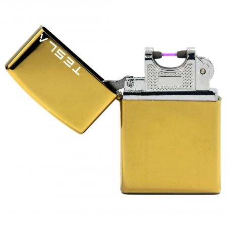 Tesla Çakmak [Altın] [Tek Ark]  [Elektrikli , Şarjlı] [Kişiye Özel Seçeneği]